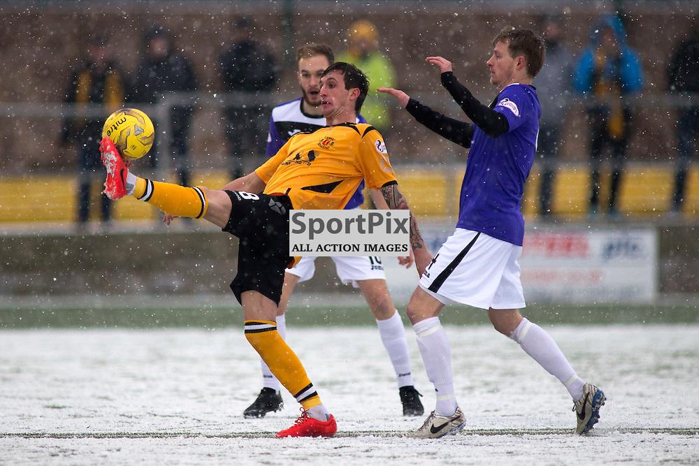 Annan Athletic v East Fife SPFL2 16 January 2016<br />Jordan Morton (8) on the ball.<br />(c) Russell G Sneddon / SportPix.org.uk