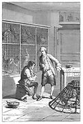 Lazaro Spallanzani (1729-1799),  Italian naturalist and biologist, investigating the digestive system of the chicken. Engraving published Paris 1874.
