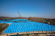 På ett berg i Chidamyo, 27 km från kärnkraftverket, lagras 10 000 säckar med kontaminerad jord. Här ska säckarna förvaras i 5 år, därefter ska de flyttas närmare kärnkraftverket till Futaba. I skogen kring förvaringen är strålningen så hög att Geigermätarna ej kan mäta radioaktiviteten, 20 mikrosiverts var max mätaren kunde mäta, Fukushima, Japan