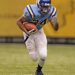 2008 November, 29: Southern University running back Brian Threat (34) runs with the ball during a 29-14 win by Grambling State over Southern University during the 35th annual State Farm Bayou Classic at the Louisiana Superdome in New Orleans, LA.  .