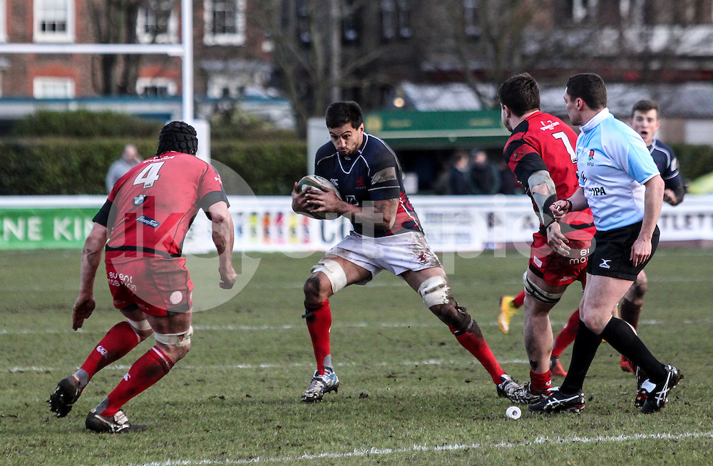 Chris Walker in action during the Green King IPA Championship match between London Scottish &amp; Moseley at Richmond, Greater London on 21st February 2015<br /> <br /> Photo: Ken Sparks | UK Sports Pics Ltd<br /> London Scottish v Moseley, Green King IPA Championship, 21st February 2015<br /> <br /> &copy; UK Sports Pics Ltd. FA Accredited. Football League Licence No:  FL14/15/P5700.Football Conference Licence No: PCONF 051/14 Tel +44(0)7968 045353. email ken@uksportspics.co.uk, 7 Leslie Park Road, East Croydon, Surrey CR0 6TN. Credit UK Sports Pics Ltd