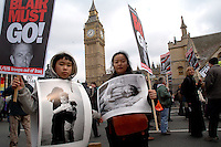 Demonstration in London marking 3rd year anniversary of invasion of Iraq asking government end occupation  and not invade Iran 18th March 2006.