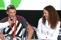Vasilij Zbogar and his girlfriend Maja from Split at welcome ceremony in Olympic City BTC, on August 23, 2008, in Alea Mladih, BTC, Ljubljana, Slovenia. (Photo by Vid Ponikvar / Sportal Images)./ Sportida)
