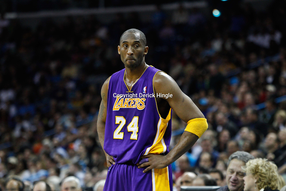 February 5, 2011; New Orleans, LA, USA; Los Angeles Lakers shooting guard Kobe Bryant (24) against the New Orleans Hornets during the second quarter at the New Orleans Arena.   Mandatory Credit: Derick E. Hingle