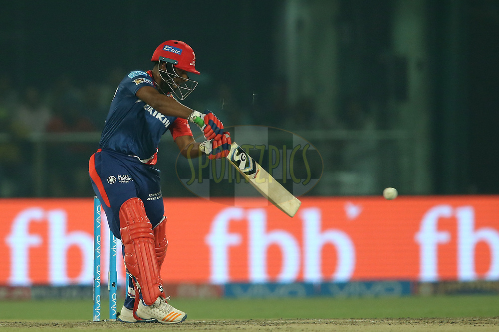 Rishabh Pant of the Delhi Daredevils square cuts a delivery during match 42 of the Vivo 2017 Indian Premier League between the Delhi Daredevils and the Gujarat Lions held at the Feroz Shah Kotla Stadium in Delhi, India on the 4th May 2017<br /> <br /> Photo by Shaun Roy - Sportzpics - IPL
