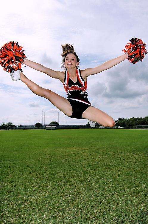 Cheerleaders from Orange Grove High School in Orange Grove, Texas.
