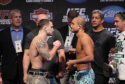August 27, 2010; Boston, MA; USA; Frankie Edgar and BJ Penn (r) face off after weighing in for their fight at UFC 118 at the TD Banknorth Center in Boston, MA.