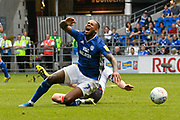 Leandro Bacuna (7) of Cardiff City is fouled by Daniel Ayala (4) of Middlesbrough during the EFL Sky Bet Championship match between Cardiff City and Middlesbrough at the Cardiff City Stadium, Cardiff, Wales on 21 September 2019.