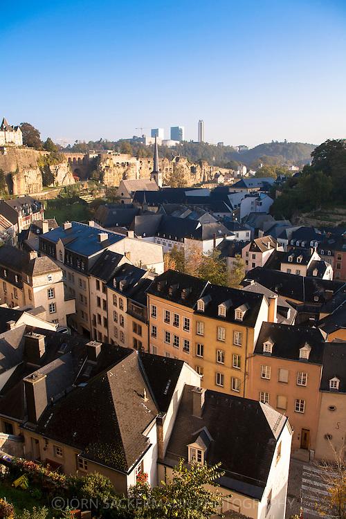 LUX, Luxembourg, city of Luxembourg, view across the district Grund to the district Kirchberg in the background.<br /> <br /> LUX, Luxemburg, Stadt Luxemburg, Blick ueber den Stadtteil Grund zum Stadtteil Kirchberg im Hintergrund.
