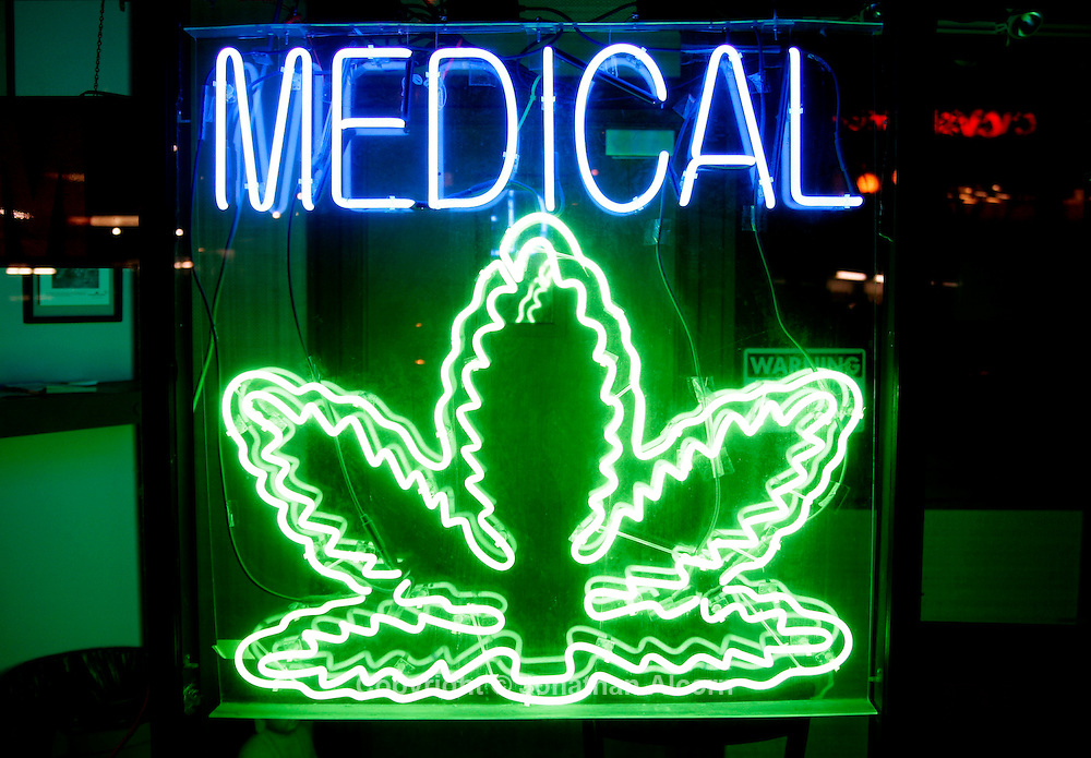 May 26, 2009 - West Hollywood, California, USA -A neon sign at a medical marijuana clinic in West Hollywood, California.