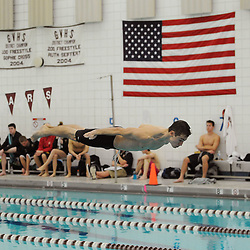 TOM KELLY IV &mdash; DAILY TIMES<br /> Garnet Valley's Nigel Morris dives during Wednesday afternoon's meet with Penncrest at Garnet Valley Middle School's pool.