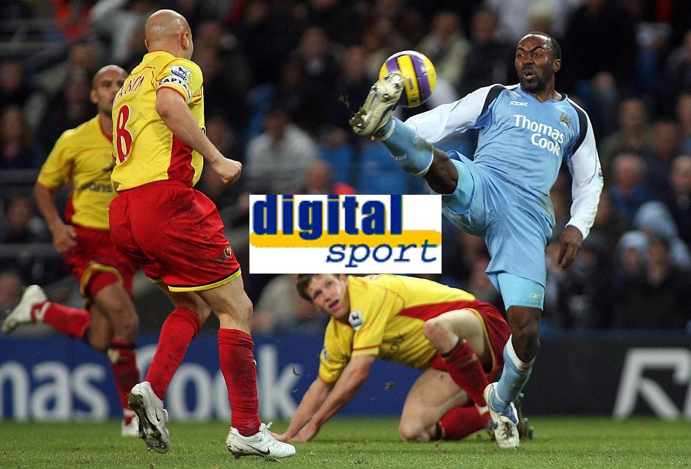 Photo: Paul Thomas.<br /> Manchester City v Watford. The Barclays Premiership. 04/12/2006.<br /> <br /> Darius Vassell of Man City (R) juggles the ball past three Watford defenders.