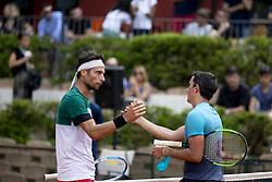 June 17, 2018 - L'Aquila, Italy - Walter Trusendi (L) and Agustin Velotti (R) during match between Walter Trusendi (ITA) and Agustin Velotti (ARG) during day 2 at the Internazionali di Tennis Citt dell'Aquila (ATP Challenger L'Aquila) in L'Aquila, Italy, on June 17, 2018. (Credit Image: © Manuel Romano/NurPhoto via ZUMA Press)