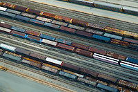 Aerial view of rail cars on tracks outside the once occupied General Motors Boxwood Plant in Newport Delaware.