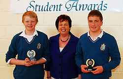 Sancta Maria College's Student Awards.The music award was presented to Jack McEvoy and Paul McDonnell by school principal Pauline Moran...Pic Conor McKeown