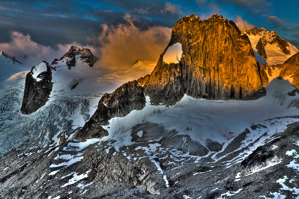 Sunrise over Snow Patch Spire from Eastpost Spire, Bugaboo Provincial Park, British Columbia, Canada
