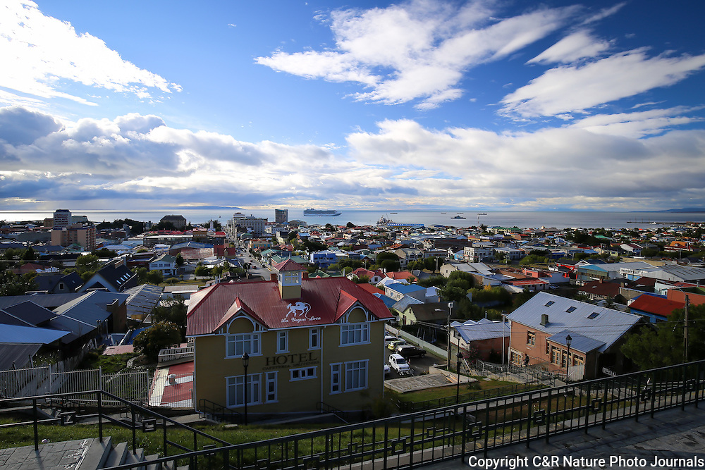 The Beautiful City of Punta Arenas set against the Historical Straits of Magellan.  This setting is both a lovely landscape, as well as a citiscape.
