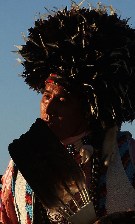 POST FALLS, ID - JULY 23:  A Native American dances in the grand entry of the Julyamsh Pow Wow in Post Falls, Idaho on Friday. The Julyamsh is touted as the largest pow wow in the Northwest.  (Photo by Jerome Pollos/Getty Images)
