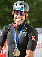 Arlen Vartazarian was the first rider to complete The London-Surrey 100 at Prudential Ride London on Sunday 30th July 2017<br /> <br /> Photo: Paul Gregory/Silverhub for Prudential RideLondon<br /> <br /> Prudential RideLondon is the world's greatest festival of cycling, involving 100,000+ cyclists – from Olympic champions to a free family fun ride - riding in events over closed roads in London and Surrey over the weekend of 28th to 30th July 2017. <br /> <br /> See www.PrudentialRideLondon.co.uk for more.<br /> <br /> For further information: media@londonmarathonevents.co.uk