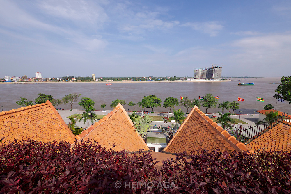 Phnom Penh, Cambodia. The Quay Hotel enjoys a splendid view over Tonle Sap.