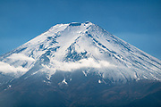 "See Mount Fuji (3776.24 m or 12,389 ft), the highest mountain in Japan, from Arakura Sengen Shrine in Fujiyoshida city, Yamanashi Prefecture, Honshu. This dormant stratovolcano last erupted in 1707–1708. Mount Fuji lies about 100 kilometers (60 mi) south-west of Tokyo, visible on a clear day. Its symmetrical cone is snow-capped for about 5 months a year. Mount Fuji is one of Japan's ""Three Holy Mountains"" (Sanreizan). UNESCO recognizes 25 sites of cultural interest nearby."