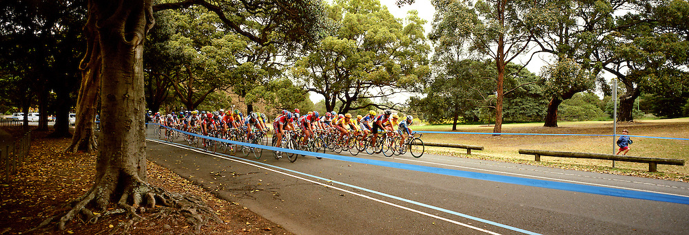 A panoramic image of Cyclists in the Men's Road Race making their way through Centenial Park during the  2000 Sydney Olympic Games...Panoramic images from the Sydney Olympic Games, Sydney, Australia. 2000 . Photo Tim Clayton