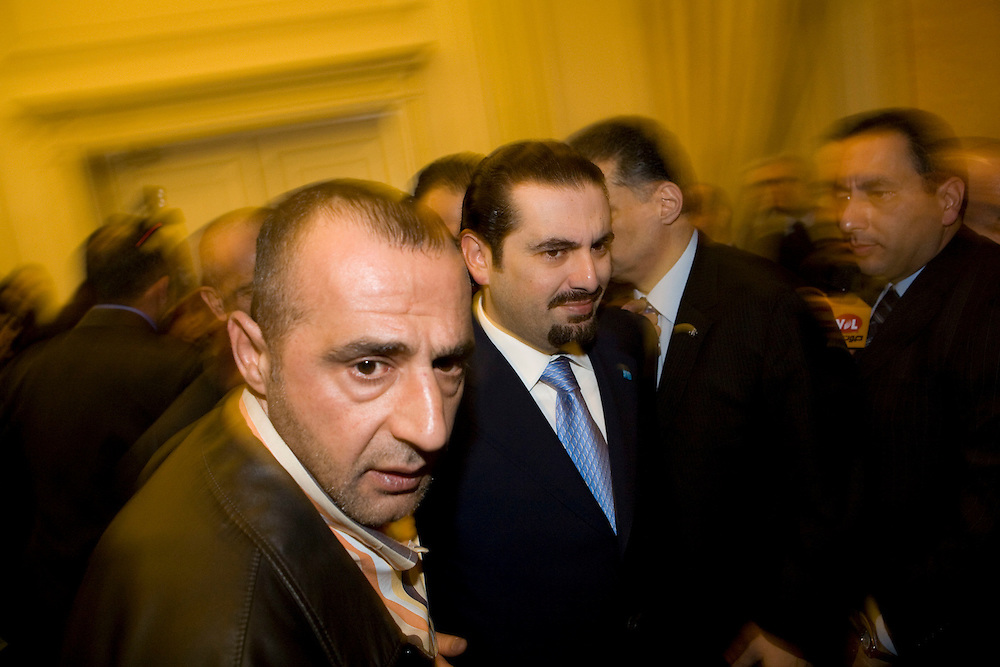 Sa'ad Hariri entering the Lebanese Parliament. Hariri is leader of the parliamentary majority and son of the assasinated former prime minister Rafik Hariri.