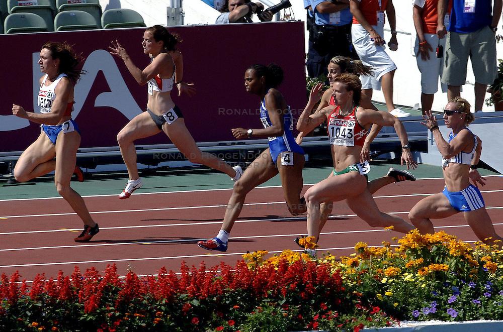 08-08-2006 ATLETIEK: EUROPEES KAMPIOENSSCHAP: GOTHENBORG <br /> 100 meter sprint met oa. Nesterenko, Yuliya, Félix, Sylviane en Khabarova, Irina <br /> ©2006-WWW.FOTOHOOGENDOORN.NL