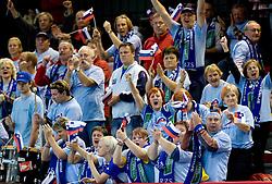 Fans of Slovenia at Women European Championships Qualifying handball match between National Teams of Slovenia and Belarus, on October 17, 2009, in Kodeljevo, Ljubljana.  (Photo by Vid Ponikvar / Sportida)