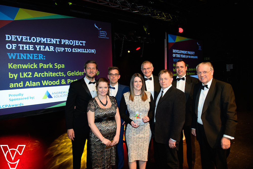 Lincolnshire Property and Construction Awards 2017.<br /> <br /> Development Project of the Year (up to &pound;5million) - Sponsored by Andrew &amp; Co.<br /> <br /> Charlie Luxton and award sponsor Julia Lock from Andrew &amp; Co presents the award to Kenwick Park Spa - by LK2 Architects, Gelder Group and Alan Wood.<br /> <br /> Picture: Chris Vaughan Photography for Lincolnshire Chamber of Commerce<br /> Date: February 7, 2017
