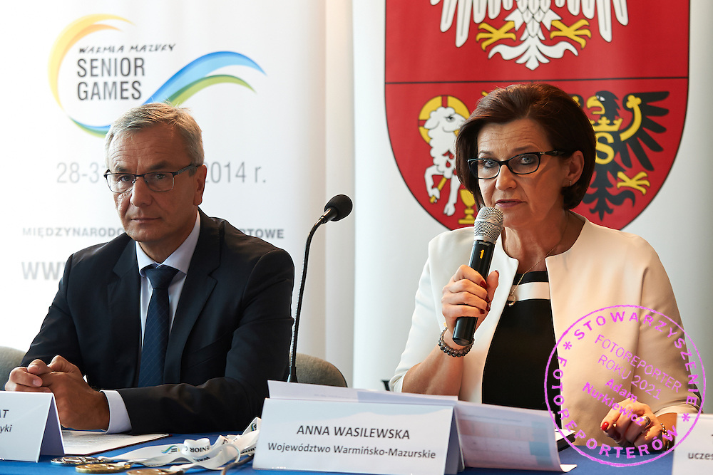 (L) Andrzej Biernat Minister of Sport Departament and (R) Anna Wasilewska member of board of Warmia Mazury Region during press conference at Polish Olympic Committee in Warsaw, Poland.<br /> <br /> Poland, Warsaw, August 27, 2014<br /> <br /> Picture also available in RAW (NEF) or TIFF format on special request.<br /> <br /> For editorial use only. Any commercial or promotional use requires permission.<br /> <br /> Photo by &copy; Adam Nurkiewicz / Mediasport