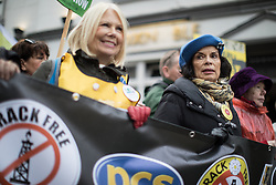 © Licensed to London News Pictures . 12/11/2016 . Manchester , UK . BIANCA JAGGER (r) . Approximately 2000 people march and rally against Fracking in Manchester City Centre . Photo credit : Joel Goodman/LNP