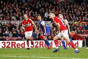Goal celebration by Middlesbrough forward Jordan Hugill (11)  during the EFL Sky Bet Championship match between Middlesbrough and Ipswich Town at the Riverside Stadium, Middlesbrough, England on 29 December 2018.