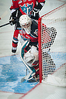 KELOWNA, CANADA - DECEMBER 6: Jackson Whistle #1 of Kelowna Rockets defends the net against the Prince Albert Raiders on December 6, 2014 at Prospera Place in Kelowna, British Columbia, Canada.  (Photo by Marissa Baecker/Shoot the Breeze)  *** Local Caption *** Jackson Whistle;