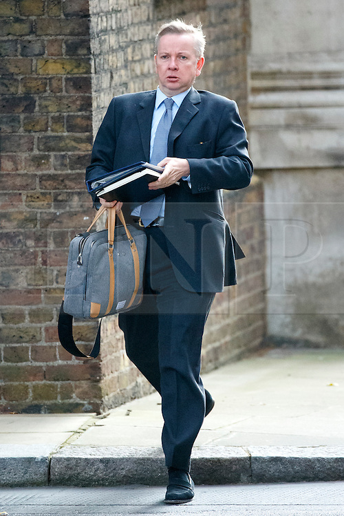 © Licensed to London News Pictures. 13/10/2015. London, UK. Justice Secretary MICHAEL GOVE attending to a cabinet meeting in Downing Street on Tuesday, 13 October 2015. Photo credit: Tolga Akmen/LNP