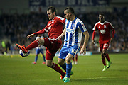 Birmingham City defender Jonathan Grounds (3) and Brighton & Hove Albion centre forward Tomer Hemed (10) during the EFL Sky Bet Championship match between Brighton and Hove Albion and Birmingham City at the American Express Community Stadium, Brighton and Hove, England on 4 April 2017.