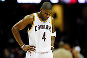 Feb. 5, 2011; Cleveland, OH, USA; Cleveland Cavaliers power forward Antawn Jamison (4) hangs his head during the final minute of the fourth quarter against the Portland Trail Blazers at Quicken Loans Arena. The Trail Blazers beat the Cavaliers 111-105.  Mandatory Credit: Jason Miller-US PRESSWIRE