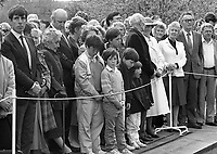 President Patrick Hillery at the 1916 Commemoration Ceremony at Arbour Hill, 07/05/1986 (Part of the Independent Newspapers Ireland/NLI Collection).