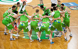 Players of Slovenia celebrate after winning the basketball match between National teams of Turkey and Slovenia in Qualifying Round of U20 Men European Championship Slovenia 2012, on July 17, 2012 in Domzale, Slovenia. Slovenia defeated Turkey 72-71 in last second of the game. (Photo by Vid Ponikvar / Sportida.com)