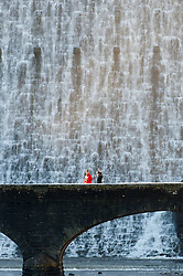 © Licensed to London News Pictures. 19/01/2020. Rhayader, Powys, Wales, UK. Huge volumes of water cascade over the Caban Coch dame in the Elan Valley reservoir complex near Rhayader in Powys, Wales, UK. after recent weeks of rainfall. Photo credit: Graham M. Lawrence/LNP