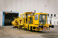 GIOIA TAURO, ITALY - 13 JUNE 2018:  A locomotive under maintenance is seen here at Gruppo Ventura,  a family-owned company that installs railroad tracks and does locomotives maintenance,  in Gioia Tauro, Italy, on June 13th 2018.<br /> <br /> Alessandro Ventura, CFO of Gruppo Ventura, traveled there some 20 times over the last three years, establishing a venture with an Iranian company engaged in expanding the national rail network. In March 2017, he signed a 2 million euro contract (about $2.3 million) to service a section of rail outside Teheran.<br /> He shipped two locomotives used to tamp down the rocks below railroad tracks. They went out on a freighter from Gioia Tauro, a port on the Tyrrhenian Sea that has long been notorious as a Mafia-run conduit for cocaine trafficking.<br /> Last August, Mr. Ventura stood at the Iranian port of Bandar Abbas in 122 degree heat, watching a crane hoist the locomotives onto the docks.<br /> Now, those machines are effectively marooned, the business halted. Gruppo Ventura has lost appetite for adventurous expansion.<br /> <br /> Once the Obama administration struck the nuclear deal with Iran three years ago, Italy saw a chance. Last year, Italy exported more than 1.7 billion euros (nearly $2 billion) worth of goods to Iran. Then, President Trump withdrew the United States from the Iran deal and vowed to reinstate sanctions, dealing a blow to companies across Europe — especially those from Italy, Germany and France.
