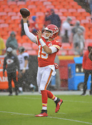 Oct 7, 2018; Kansas City, MO, USA; Kansas City Chiefs quarterback Patrick Mahomes (15) warms up before the game against the Jacksonville Jaguars at Arrowhead Stadium. Mandatory Credit: Denny Medley-USA TODAY Sports