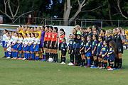The New Zealand Football Ferns and the Matildas line up for the Anthems during the Cup of Nations Women's Football match, New Zealand Football Ferns v Matildas, Leichhardt Oval, Thursday 28th Feb 2019. Copyright Photo: David Neilson / www.photosport.nz