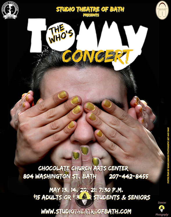 Design of Show Poster for Chocolate Church Arts Center design of Tommy Poster by Studio Theatre of Bath