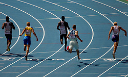 Jan Zumer of Slovenia (2R) and other athletes compete in the Mens 200m Heats during day three of the 20th European Athletics Championships at the Olympic Stadium on July 29, 2010 in Barcelona, Spain. (Photo by Vid Ponikvar / Sportida)