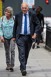 © Licensed to London News Pictures. 12/06/2017. London, UK. Liberal Democrat MP SIR VINCE CABLE seen in Westminster with is wife RACHEL. Over the weekend British prime minister Theresa May formed a new cabinet and continues discussions with the DUP in an attempt to form a new government. Photo credit: Ben Cawthra/LNP