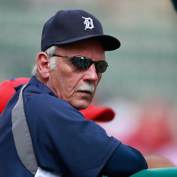 March 9, 2011; Lakeland, FL, USA; Detroit Tigers manager Jim Leyland (10) before a spring training exhibition game against the Philadelphia Phillies at Joker Marchant Stadium.   Mandatory Credit: Derick E. Hingle
