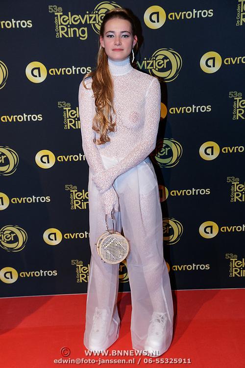 NLD/Amsterdam/20181011 - Televizier Gala 2018, Emma Wortelboer met doorzichtige outfit