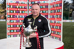 NEWTOWN, WALES - Sunday, May 6, 2018: Connahs Quay Nomads manager Andy Morrison with the FAW Welsh Cup following a 4-1 victory in the FAW Welsh Cup Final between Aberystwyth Town and Connahs Quay Nomads at Latham Park. (Pic by Paul Greenwood/Propaganda)