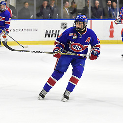 BUFFALO, NY - SEP 20,  2017: Ontario Junior Hockey League Governors Showcase game between the Toronto Jr. Canadiens and Wellington Dukes, Jake Joffe #9 of the Toronto Jr. Canadiens follows the play during the first period.<br /> (Photo by Andy Corneau / OJHL Images)